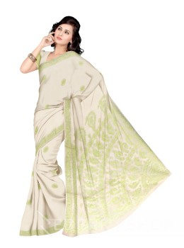 CHIKAN FLORAL CORNER LEMON COTTON SAREE