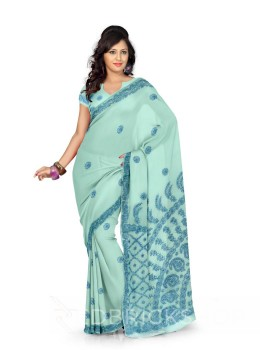 CHIKAN FLORAL CORNER BLUE COTTON SAREE