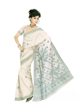 CHIKAN FLORAL WHITE-GREEN COTTON SAREE