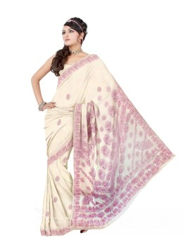 CHIKAN FLORAL WHITE-MAUVE COTTON SAREE