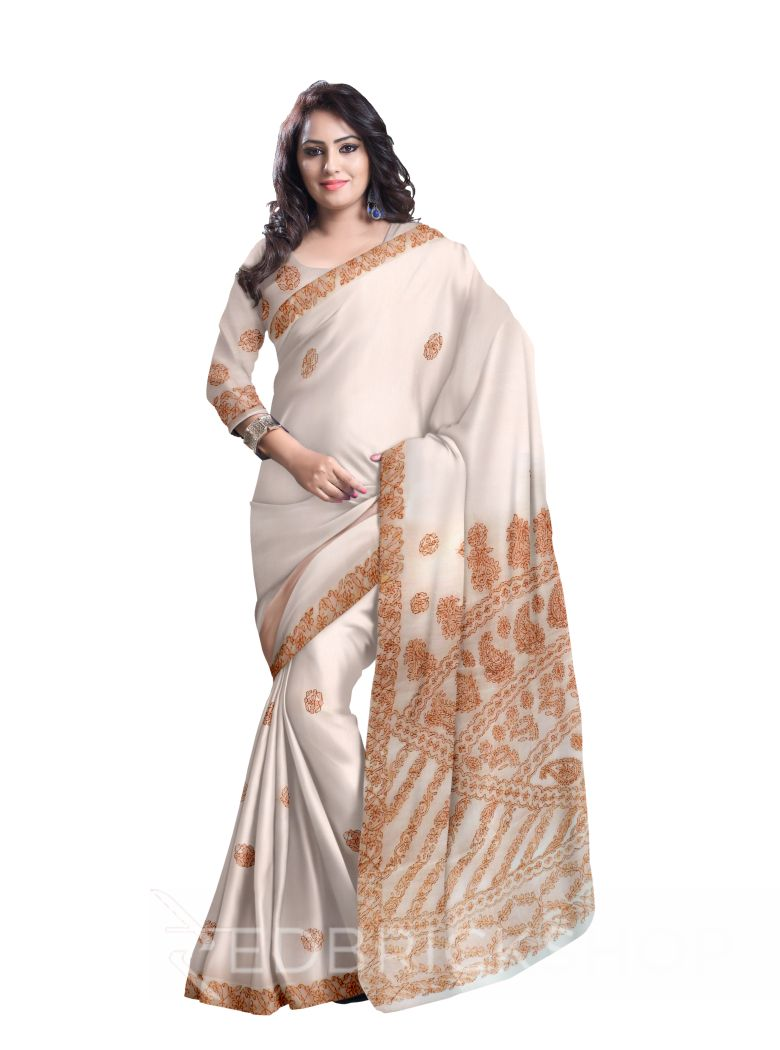 CHIKAN FLORAL WHITE-BROWN COTTON SAREE