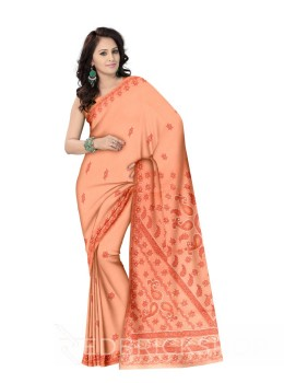 CHIKAN JAALI PEACH COTTON SAREE