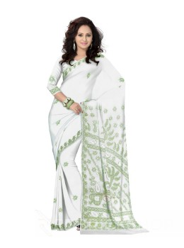 CHIKAN JAALI WHITE-GREEN COTTON SAREE