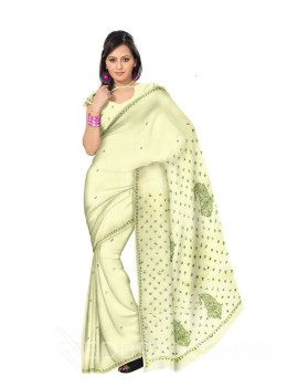 CHIKAN PAISLEY TARA LEMON COTTON SAREE