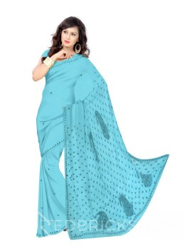 CHIKAN PAISLEY TARA AQUAMARINE COTTON SAREE
