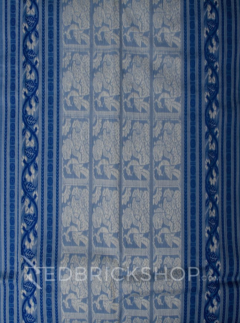 BALUCHARI BLUE-WHITE COTTON SAREE