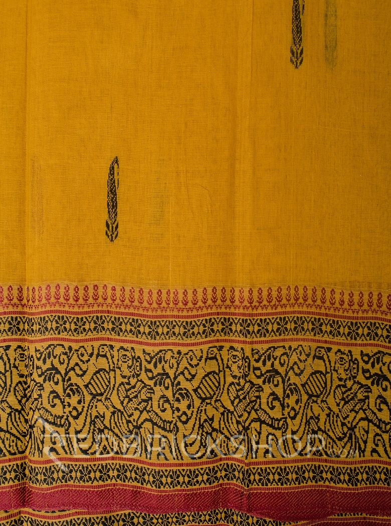 BALUCHARI MUSTARD-BLACK-MAROON COTTON SAREE