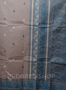 BALUCHARI GREY-TURQUOISE-BEIGE COTTON SAREE