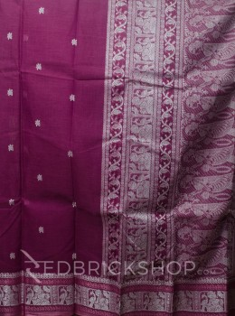 BALUCHARI ONION PINK-WHITE COTTON SAREE