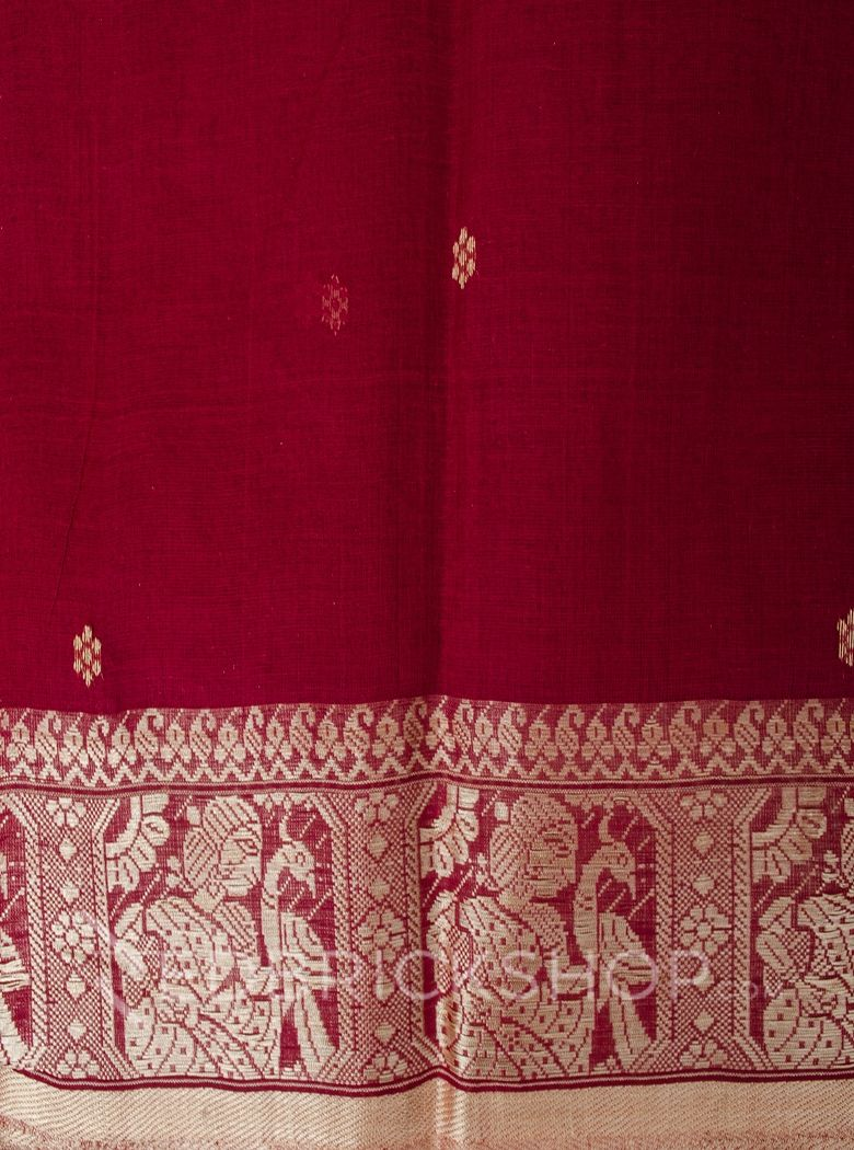 BALUCHARI MAROON-CREAM COTTON SAREE