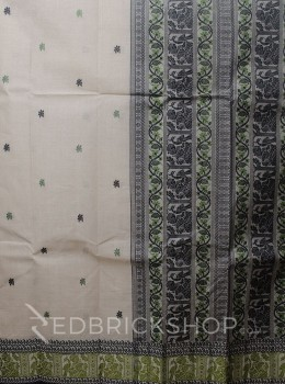 BALUCHARI BEIGE-MEHENDI-BLACK COTTON SAREE