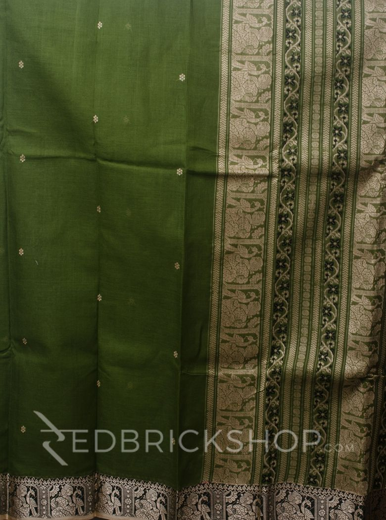 BALUCHARI MEHENDI-CREAM-BLACK COTTON SAREE