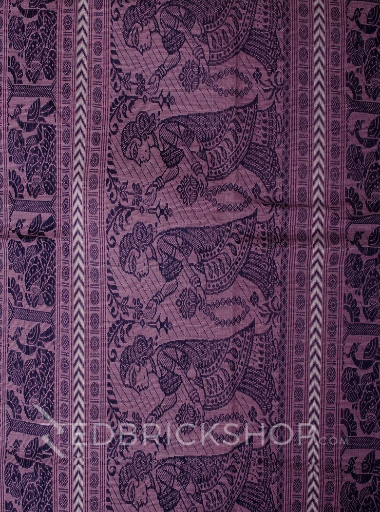 BALUCHARI MAUVE-NAVY-WHITE COTTON SAREE