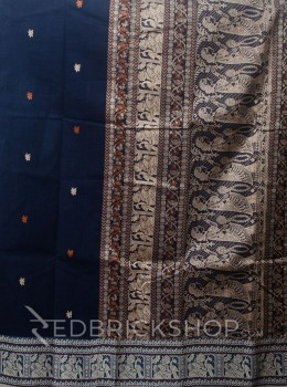 BALUCHARI NAVY-RUST-CREAM COTTON SAREE
