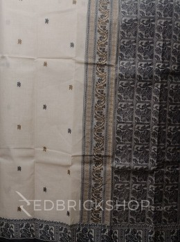 BALUCHARI BEIGE-KHAKI-BLACK COTTON SAREE
