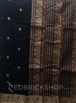 BALUCHARI NAVY-ORANGE-BEIGE COTTON SAREE