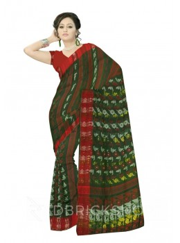 DHAKAI GEOMETRIC GREEN MUSLIN SAREE