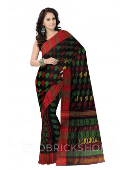 DHAKAI GEOMETRIC BLACK MUSLIN SAREE