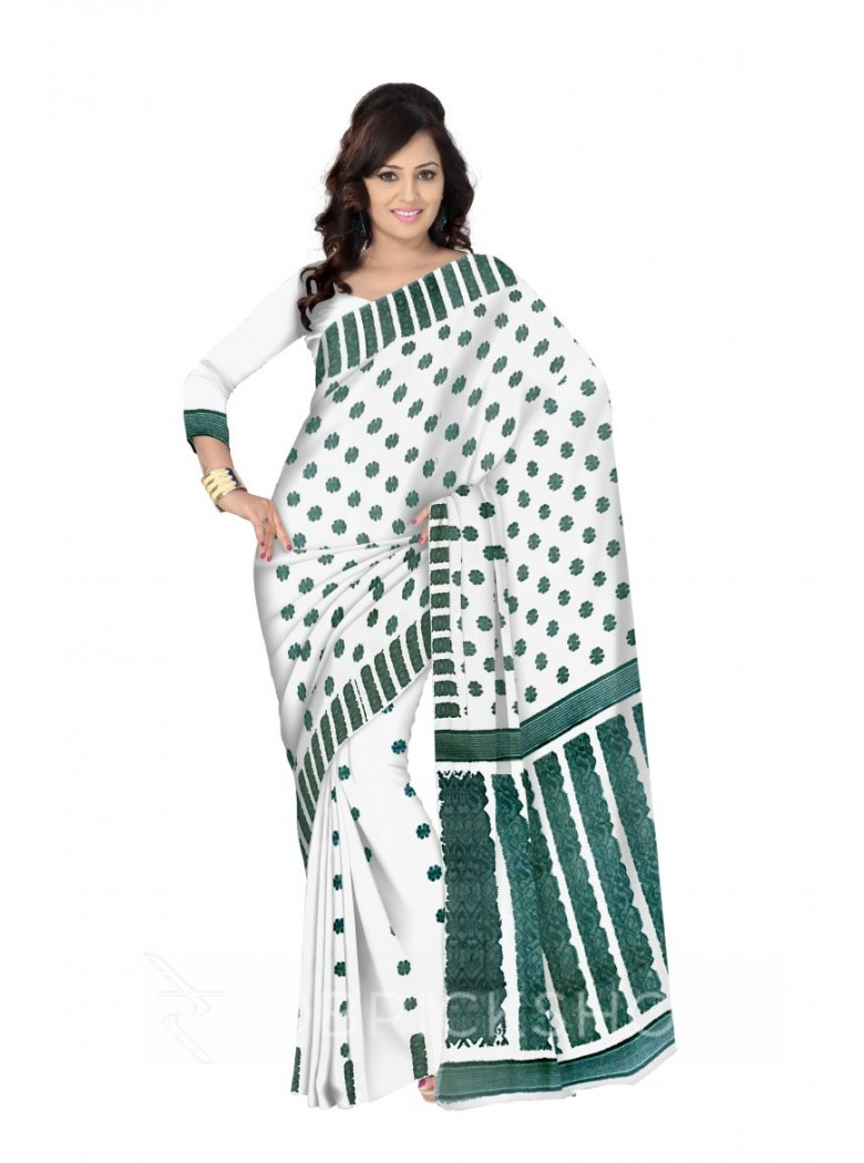 DHAKAI GEOMETRIC CREAM-AQUAMARINE MUSLIN SAREE