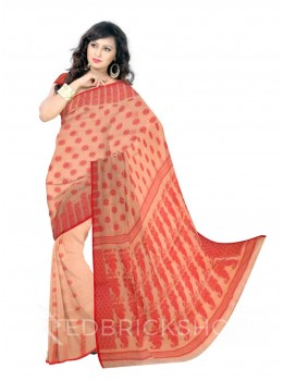 DHAKAI PAISLEY CREAM-RED MUSLIN SAREE