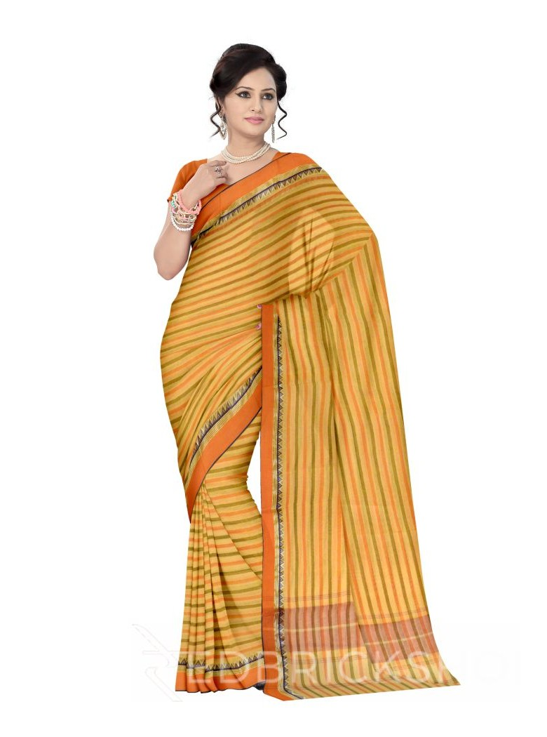 DHONEKHALI STRIPE MUSTARD-GREEN COTTON SAREE