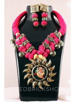 GERMAN SILVER SURYA GANESH ANTIQUE THREAD MAGENTA, PINK JEWELLERY SET