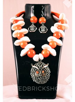 GERMAN SILVER OWL COWRIE BEAD ORANGE, WHITE JEWELLERY SET