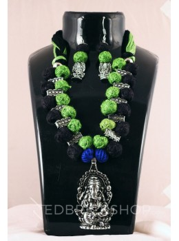 GERMAN SILVER GANESH THREAD GREEN, BLACK JEWELLERY SET