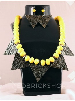 GERMAN SILVER TRIANGLE ANTIQUE BEAD YELLOW JEWELLERY SET