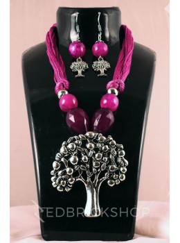 GERMAN SILVER TREE OF LIFE THREAD BEAD PURPLE JEWELLERY SET