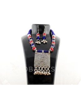 GERMAN SILVER SQUARE BELL BEAD NAVY, BLUE, RED JEWELLERY SET