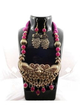 GERMAN SILVER TWO PEACOCK BEAD THREAD PINK, MAUVE JEWELLERY SET