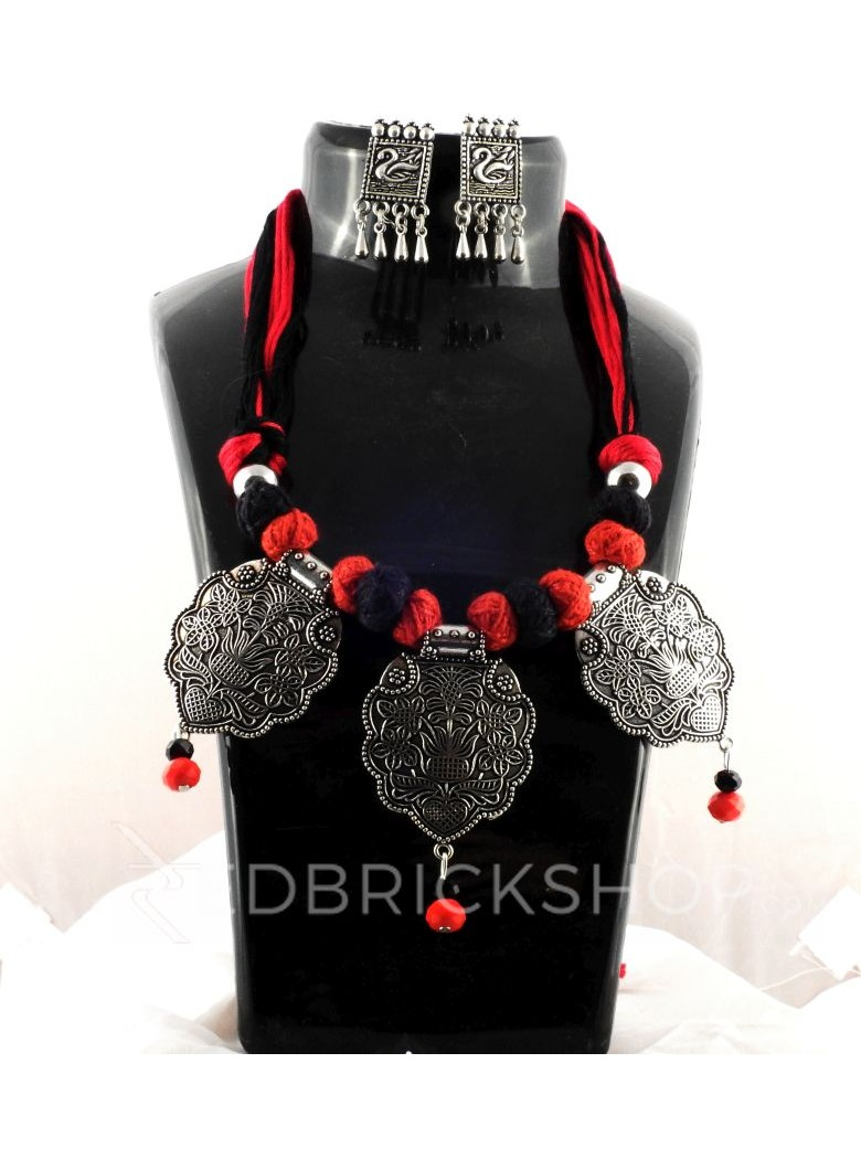 GERMAN SILVER THREE PENDENT FLOWER THREAD RED, BLACK JEWELLERY SET