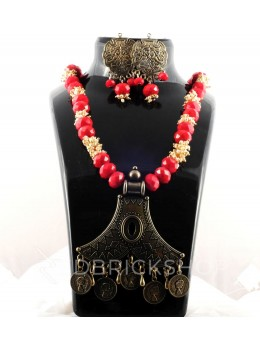 GERMAN SILVER FORKED TRIANGLE RED PEARL BEAD JEWELERRY SET