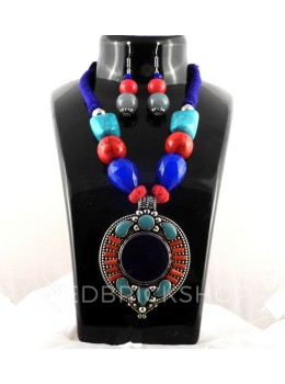 GERMAN SILVER DISK BLUE, RED STONE JEWELLERY SET