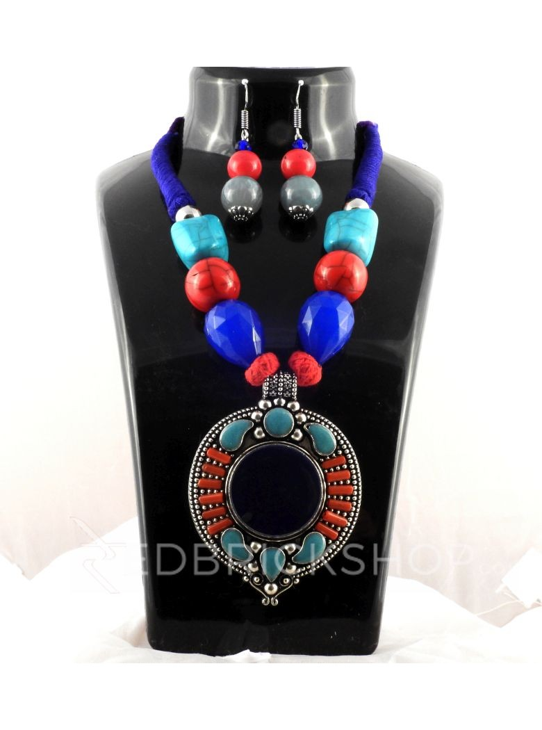 SILVER DISK BLUE, RED STONE JEWELLERY SET