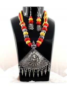 GERMAN SILVER TRIANGLE GANESH RED, YELLOW THREAD JEWELLERY SET