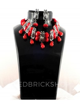 GERMAN SILVER SMALL RECTANGLE BEAD THREAD RED JEWELLERY SET
