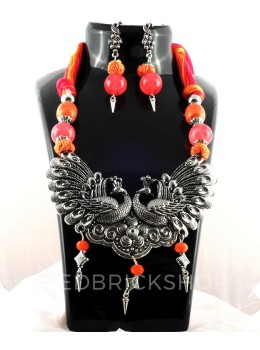 GERMAN SILVER TWO PEACOCK PINK, ORANGE BEAD THREAD JEWELLERY SET