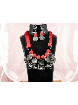 GERMAN SILVER 25 PAISE THREAD RED JEWELLERY SET