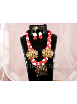 GERMAN SILVER THREE LOTUS THREAD RED, WHITE JEWELLERY SET