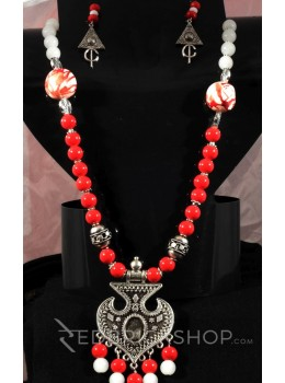GERMAN SILVER SPADE BEAD RED, WHITE JEWELLERY SET