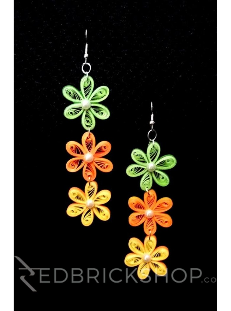 PAPER QUILLING FLORAL GREEN-ORANGE-YELLOW EARRINGS
