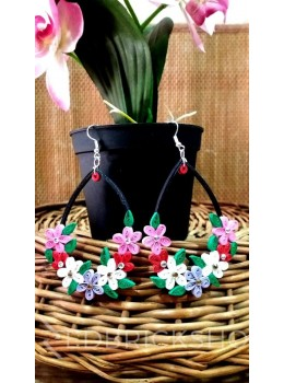 PAPER QUILLING LOOP RED-PINK-MAUVE-WHITE EARRINGS