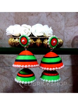 PAPER QUILLING JHUMKA ORANGE-BLACK-GREEN PEARL EARRING