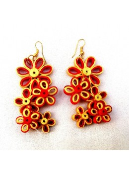 PAPER QUILLING FLORAL RED-GOLD EARRINGS