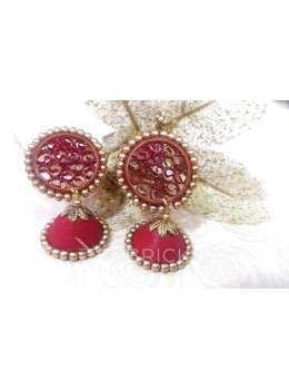 PAPER QUILLING JHUMKA RED EARRING