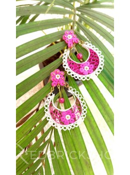 PAPER QUILLING FLORAL MOON PINK-WHITE EARRINGS