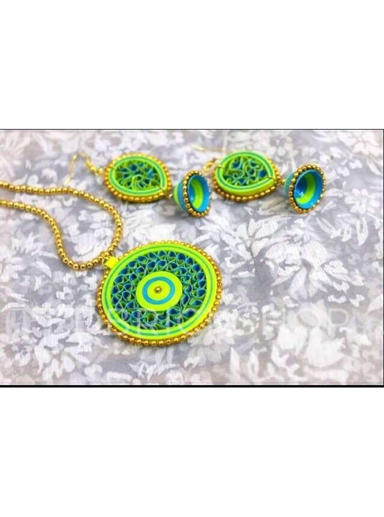 PAPER QUILLING CIRCLE GREEN-BLUE SET