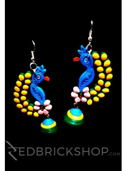 PAPER QUILLING PEACOCK BLUE-YELLOW-GREEN EARRINGS